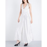 Leclair polka-dot patterned satin dress