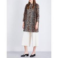 Ganni Ladies Leopard Lightweight Fabre Cotton Coat