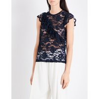 Flynn ruffled floral-lace top