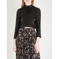 Keegan turtleneck sequinned cropped top