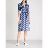 Geometric-print satin dress