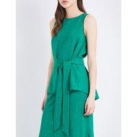 Cefinn Voile sleeveless top with sash, Women's, Size: 10, Emerald