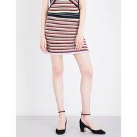 Striped mixed crochet skirt
