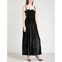 Ruched velvet maxi dress