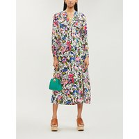 RIXO Ladies Drop Daisy Blue, White, Black and Pink Camellia Abstract-Print Flared Silk Dress