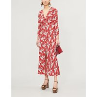 Katie V-neck floral-print crepe midi dress
