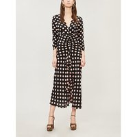RIXO Ladies Peach Pink and Black Polka-Dot Print Rose Ruched Silk Midi Dress