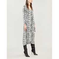 RIXO Ladies White and Black Zebra-Print Crepe Wrap Dress