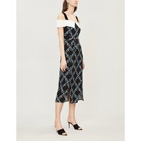 RIXO Ladies Blue Checked and Floral-Print Chloe Crepe Dress