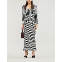 RIXO Ladies Hndstooth Black and White Ziggy Houndstooth-Print Satin Midi Dress