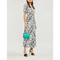 RIXO Ladies Black and White Tonya Tiger-Print Crepe Maxi Dress