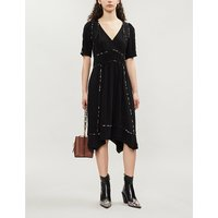 Flavie V-neck crepe midi dress
