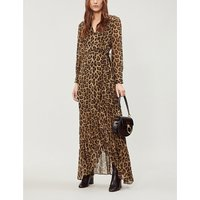 BA&SH Black and Brown Leopard Print Pattie Crepe Maxi Wrap Dress