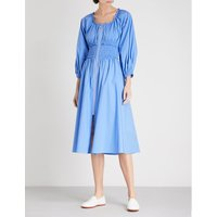 Athena smocked-waist stretch-cotton dress