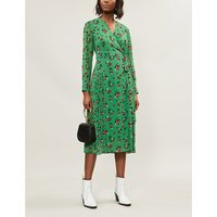 KITRI Ladies Green and Red Polka-Dot Print Jody Pleated Woven Midi Dress