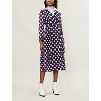 KITRI Ladies Pink and Navy Blue Polka-Dot Print Jody Pleated Woven Midi Dress