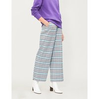 Megan checked high-rise straight-leg flannel trousers