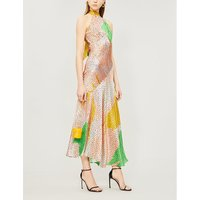 Vivienne halterneck asymmetric printed silk-satin midi dress
