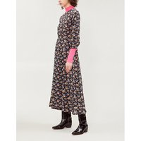 Floral-print silk-crepe de chine dress
