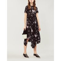Lois asymmetric floral-print crepe midi dress