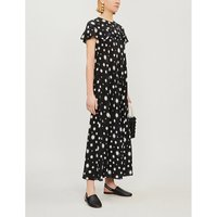 Red Valentino Ladies Black Star-Print Silk Midi Dress