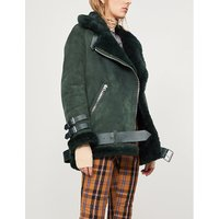 Velocite shearling-trimmed suede jacket