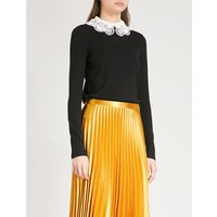 Bliss embroidered-collar wool and cotton-blend jumper