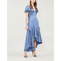 Cyndie ruffled crepe-satin gown