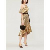 Eliska one-shoulder ruffled metallic printed dress