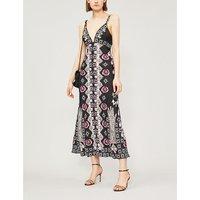 Temperley London Ladies Black Floral-Print Flux Strappy Dress