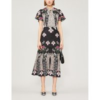 Temperley London Ladies Black Floral-Print Flux Midi Dress