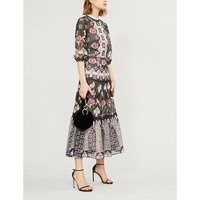 Temperley London Ladies Black Floral-Print Tiered Printed Chiffon Midi Dress