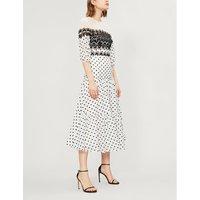Lace-panelled polka dot cotton-blend midi dress