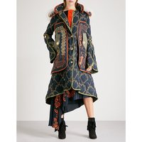 Tribal-patterned hooded quilted coat