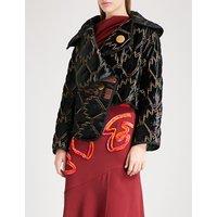 Tribal-patterned quilted velvet coat