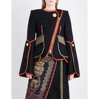 Contrast-trim flared-sleeve wool-blend jacket