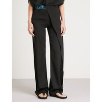 Asymmetric high-rise straight silk-satin trousers