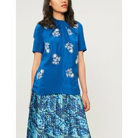 Karola floral-embroidered silk-satin top
