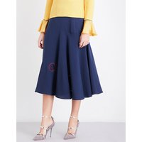 Carson silk-crepe midi skirt