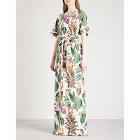 Jungle-print stretch-silk kaftan