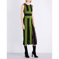 Striped split-hem fitted woven maxi dress