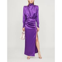 Crystal-embellished silk-satin gown