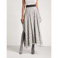 Side-split tweed maxi skirt