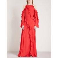 Ruffled silk-chiffon maxi dress