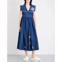 Floral-embroidered denim midi dress