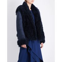 Sies Marjan Ladies Navy Teri Shearling Jacket, Size: L