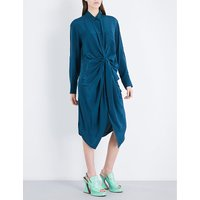 Georgina twisted silk-satin shirt dress