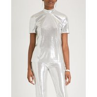 Galaxy high-neck sequinned top
