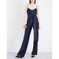 Galvan Self-tie satin jumpsuit, Women's, Size: 10, Midnight