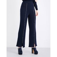 Caron faux pearl-embellished flared wool trousers